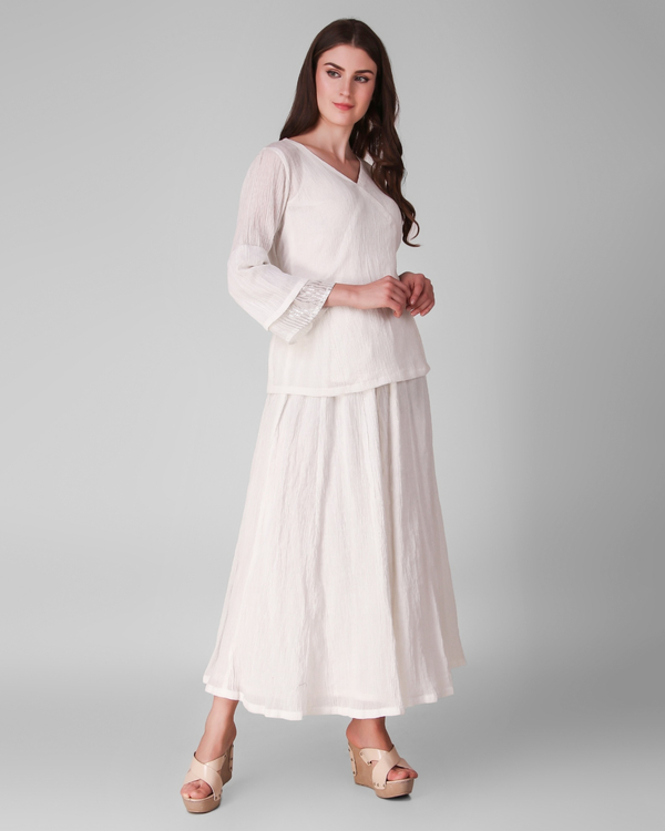 Ivory cotton crepe tie up top with skirt - set of three 2