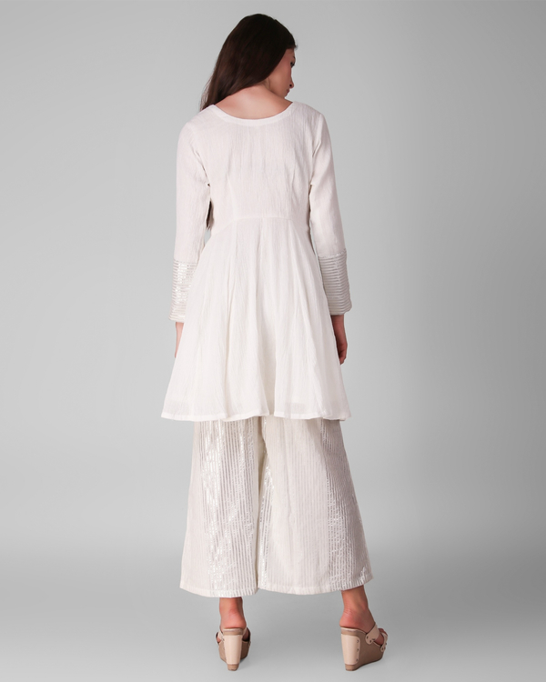 Ivory cotton crepe pleated tunic with cotton lurex stripe palazzo - set of two 3