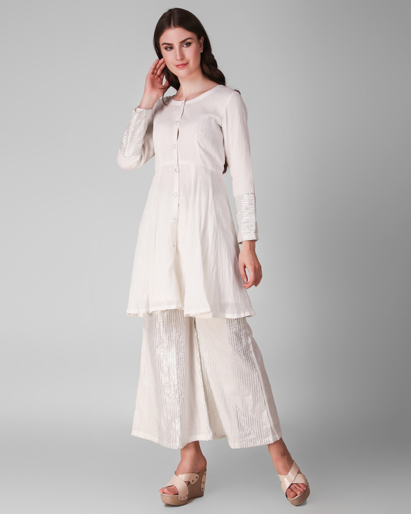 Ivory cotton crepe pleated tunic with cotton lurex stripe palazzo - set of two 2