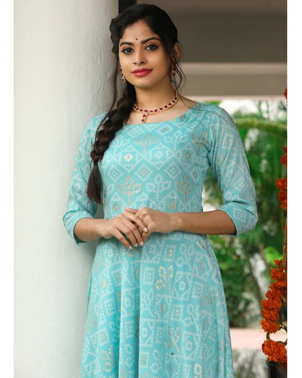 Pastel blue bandhini maxi dress 1