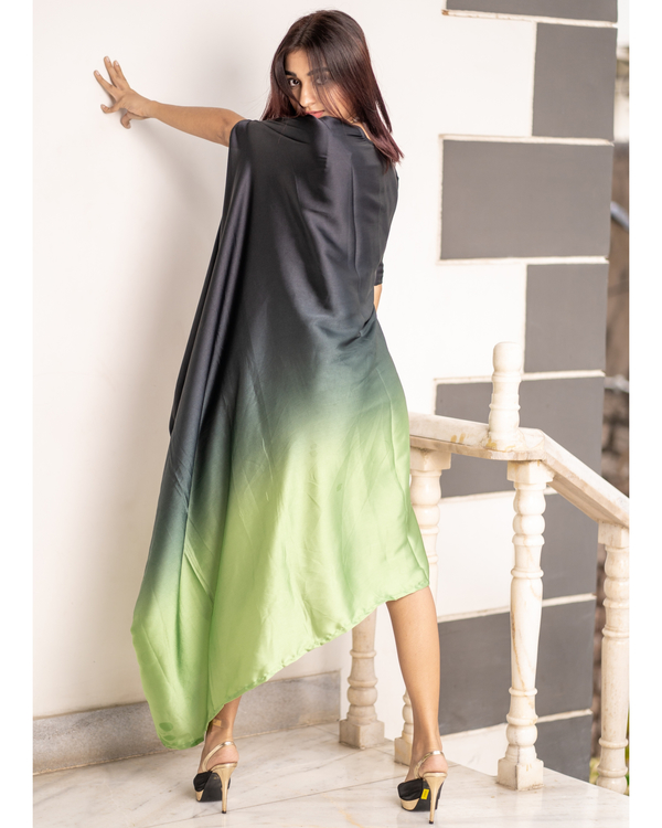 Green and Grey Ombre Poncho Dress 3