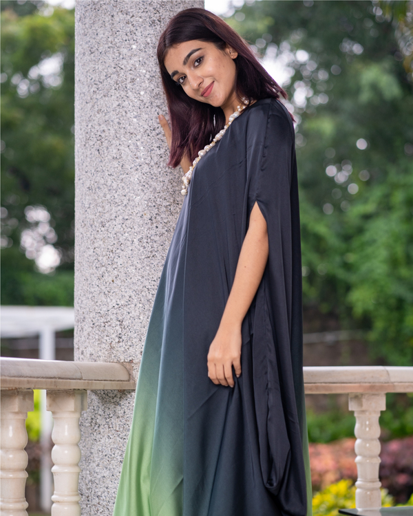 Green and Grey Ombre Poncho Dress 2