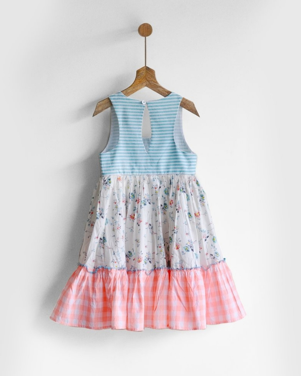 Tiered racer back print & patch dress 3