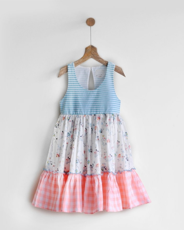Tiered racer back print & patch dress 2