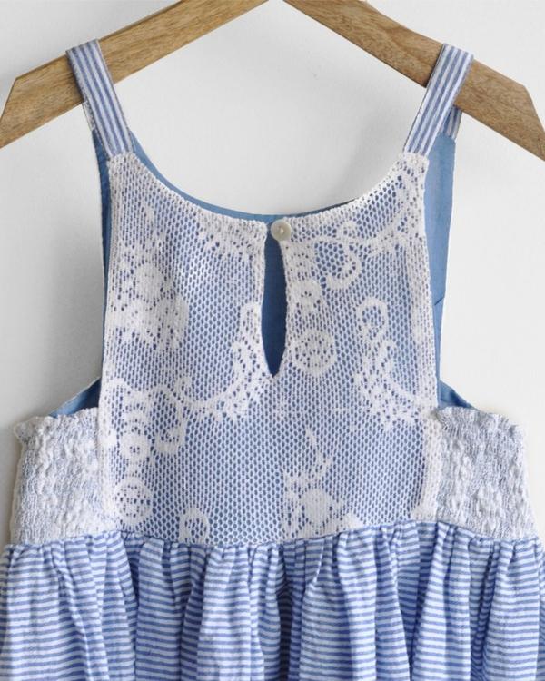 Schiffli lace maxi dress with side smocking 4