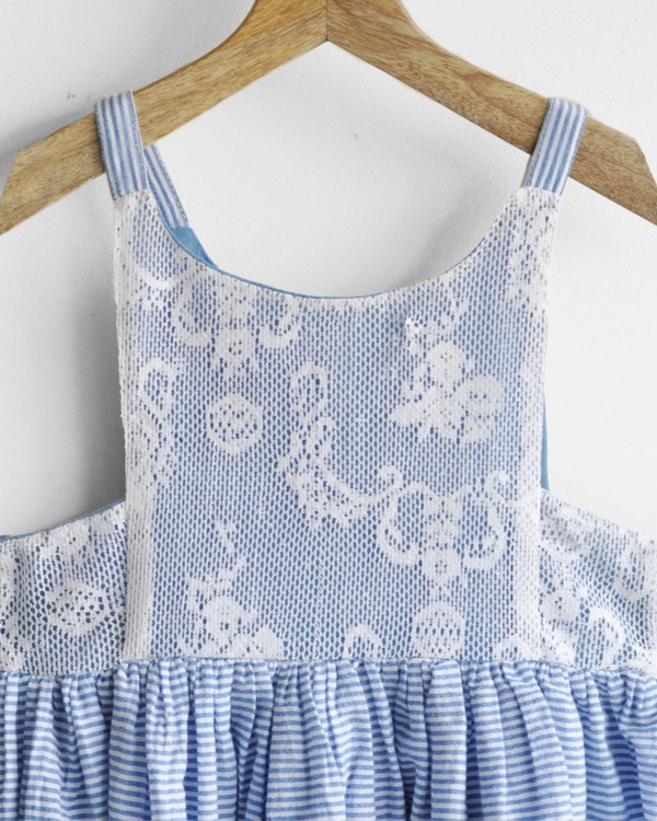 Schiffli lace maxi dress with side smocking 3