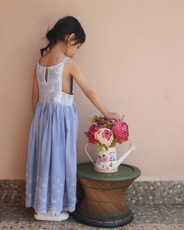 Schiffli lace maxi dress with side smocking 1