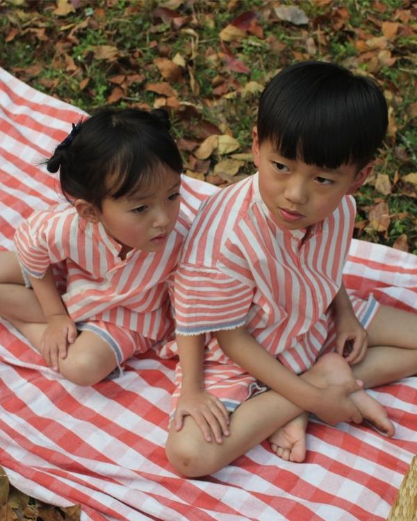 Peach stripes on stripes set - set of two 2