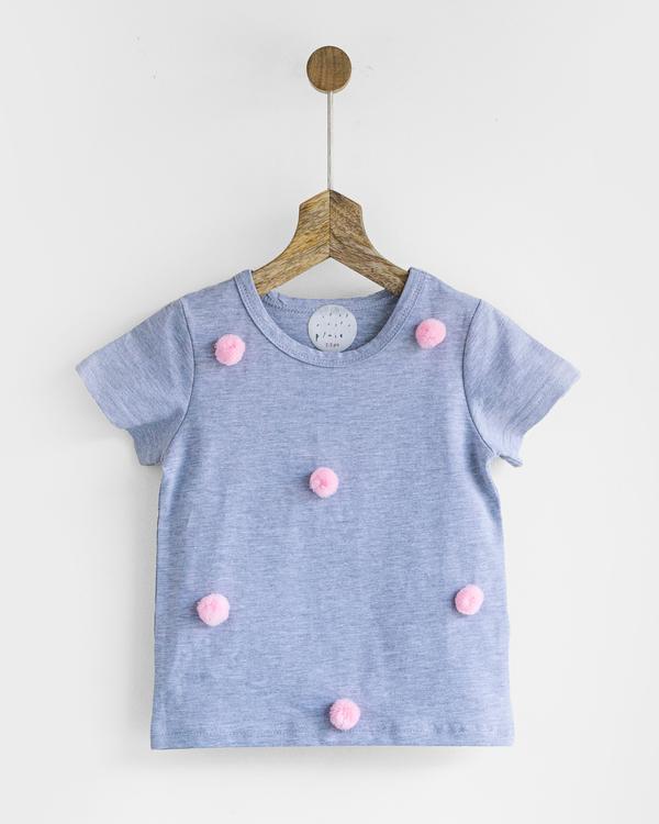 Pluie grey & pink happy pom pom tee 1