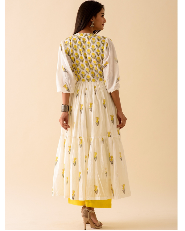 Lemon lily dress with palazzo and dupatta-set of three 3