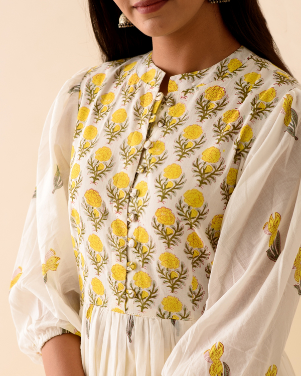 Lemon lily dress with palazzo and dupatta-set of three 1