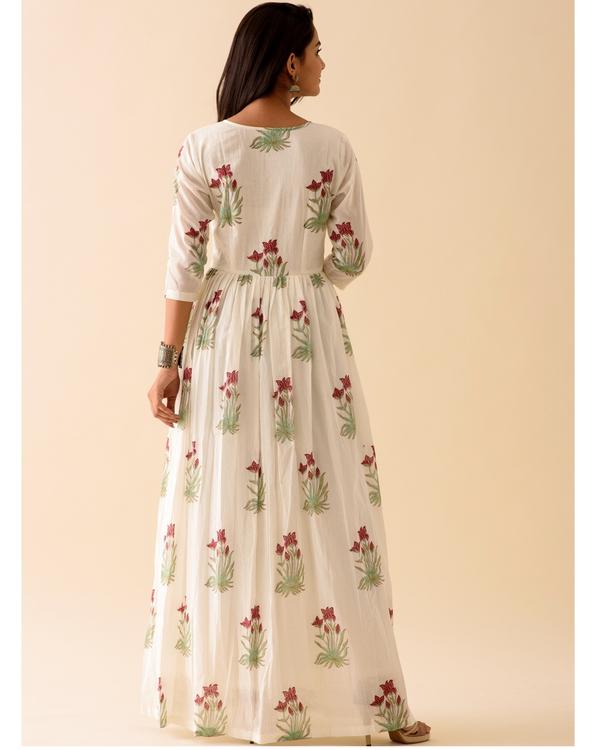 Off-white marsala print dress with dupatta-set of two 3