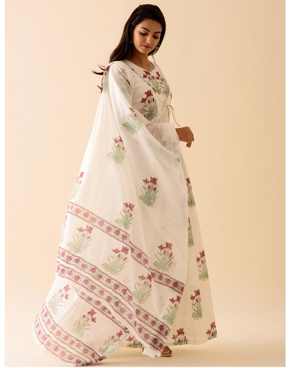 Off-white marsala print dress with dupatta-set of two 2
