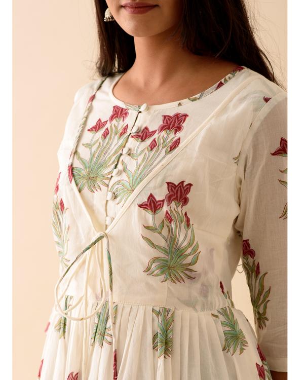 Off-white marsala print dress with dupatta-set of two 1