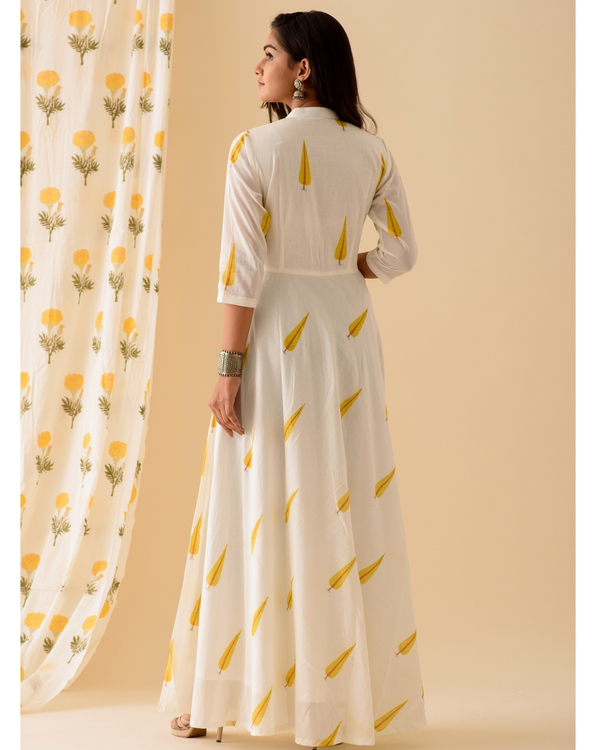 Yellow leaf printed anarkali with dupatta-set of two 3