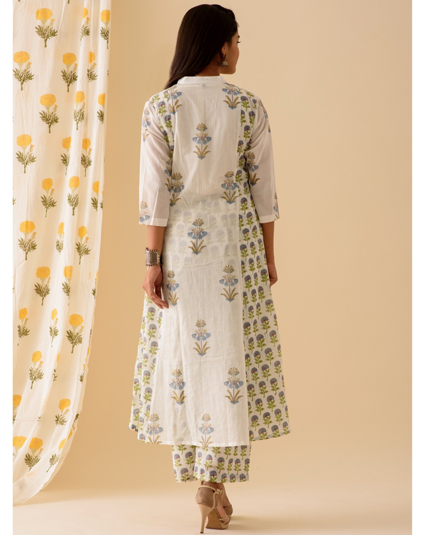 Blue and white kurta and palazzo-set of two 3