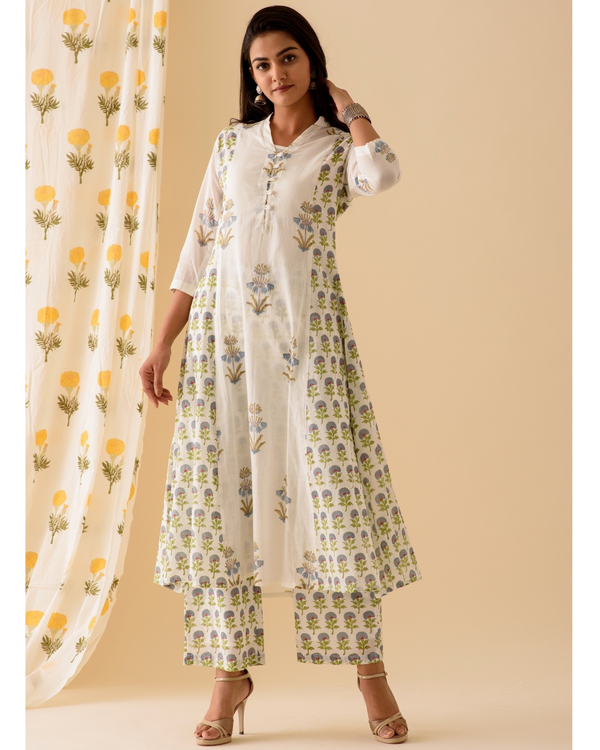 Blue and white kurta and palazzo-set of two 2