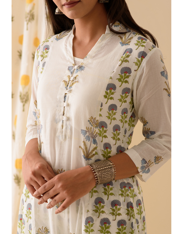 Blue and white kurta and palazzo-set of two 1
