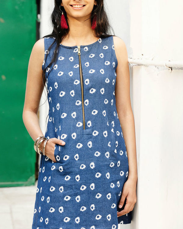 Denim amoeba a line mini dress 3