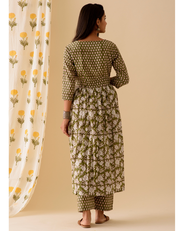 Green block printed kurta and palazzo-set of two 3
