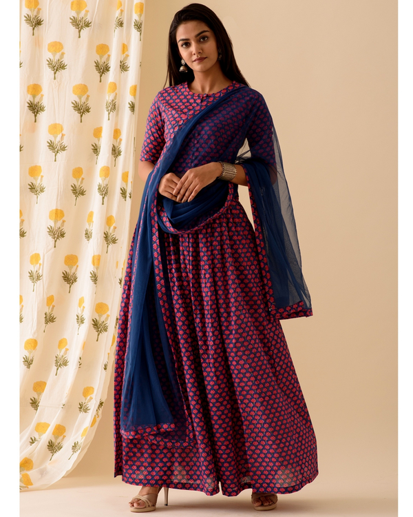 Violet and blue lehenga-set of three 3