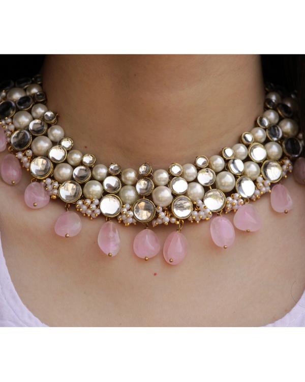 Baby pink kundan necklace 1