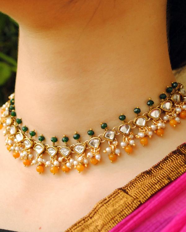 Green and orange beaded kundan necklace 1