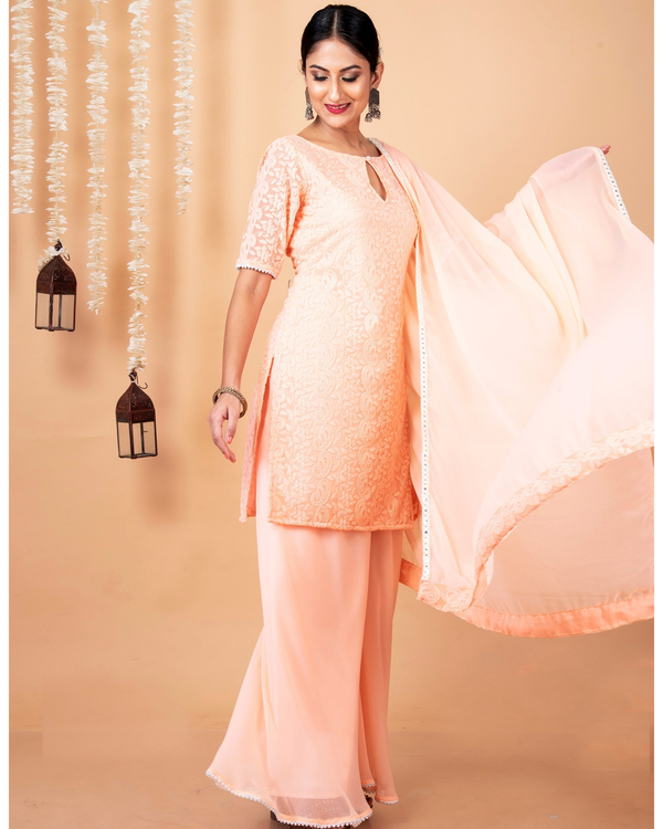 Peach lucknowi suit with palazzo and dupatta - set of three 2