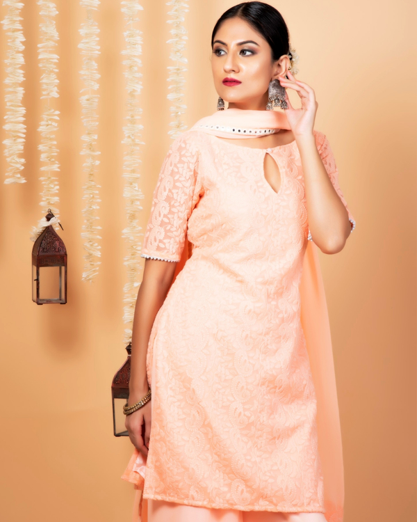Peach lucknowi suit with palazzo and dupatta - set of three 1