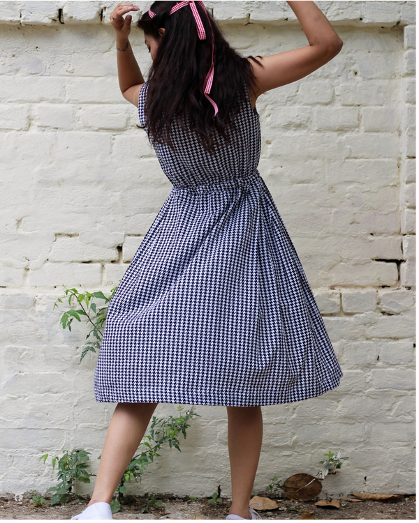 Black and white checked embroidered dress  4