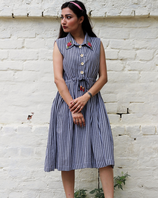 Black and white checked embroidered dress  3