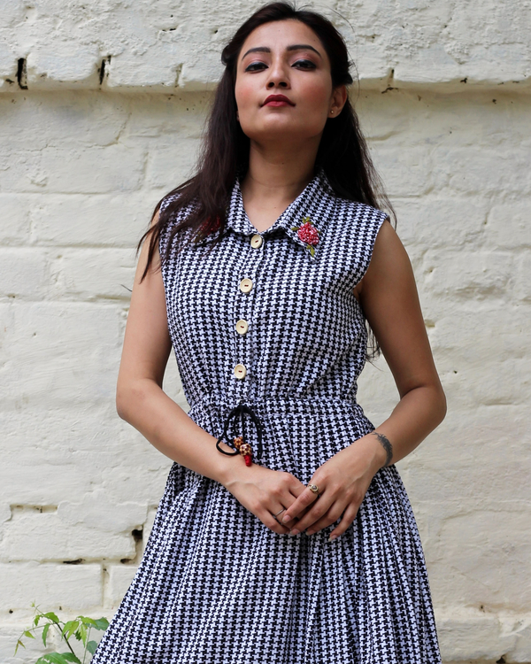Black and white checked embroidered dress  2