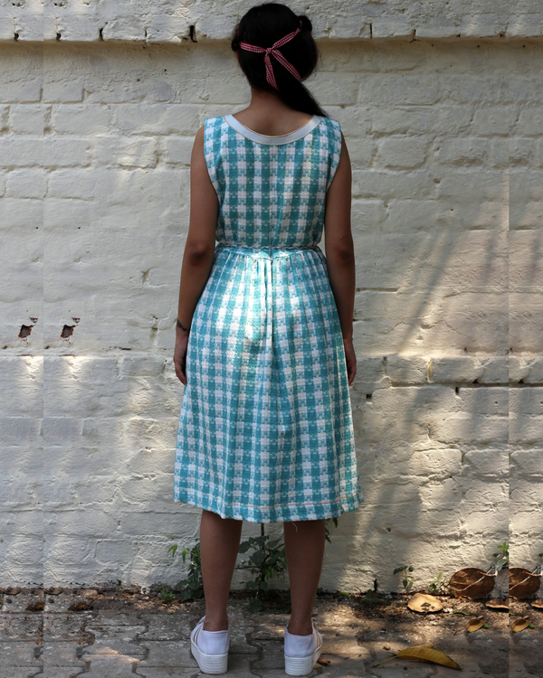 Blue and white checked dress 3