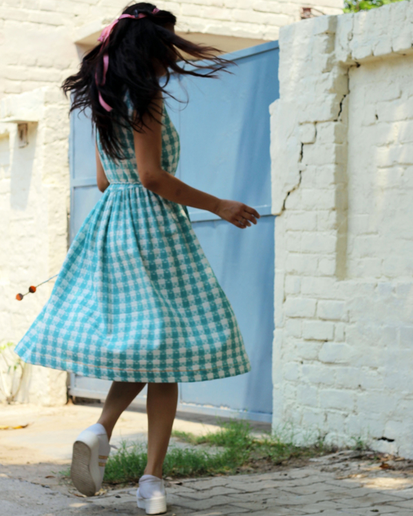 Blue and white checked dress 2