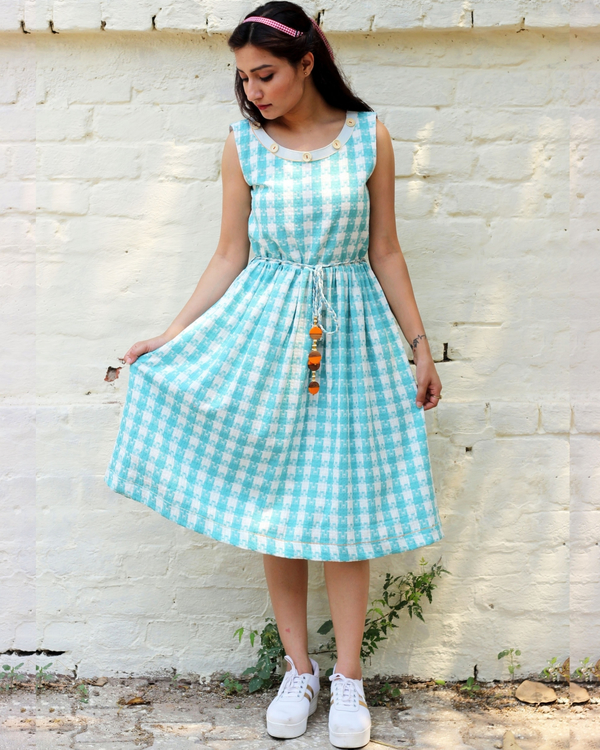 Blue and white checked dress 1