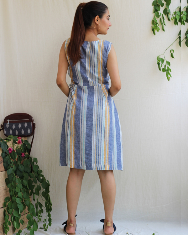 Blue linen striped dress 3