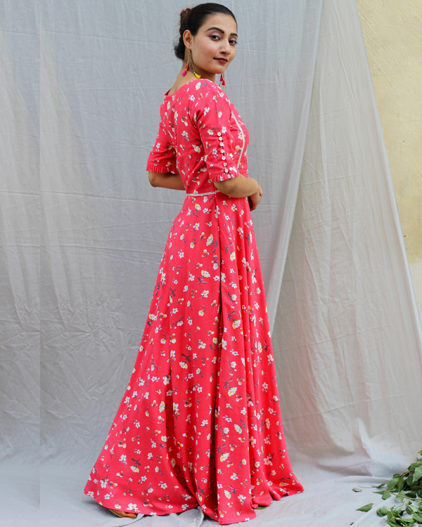 Coral red printed maxi dress 3