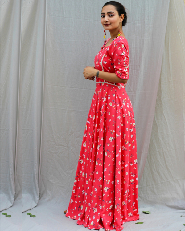 Coral red printed maxi dress 2