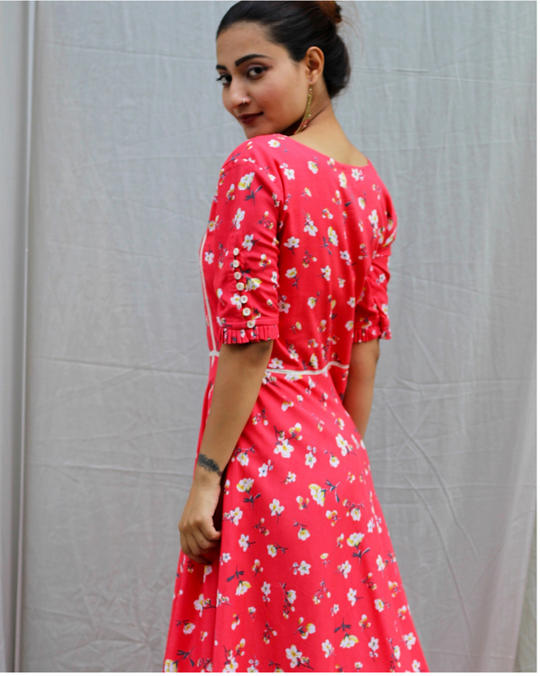 Coral red printed maxi dress 1