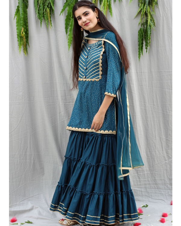 Teal blue sharara suit with dupatta - set of three 3