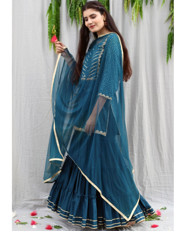 Teal blue sharara suit with dupatta - set of three 2