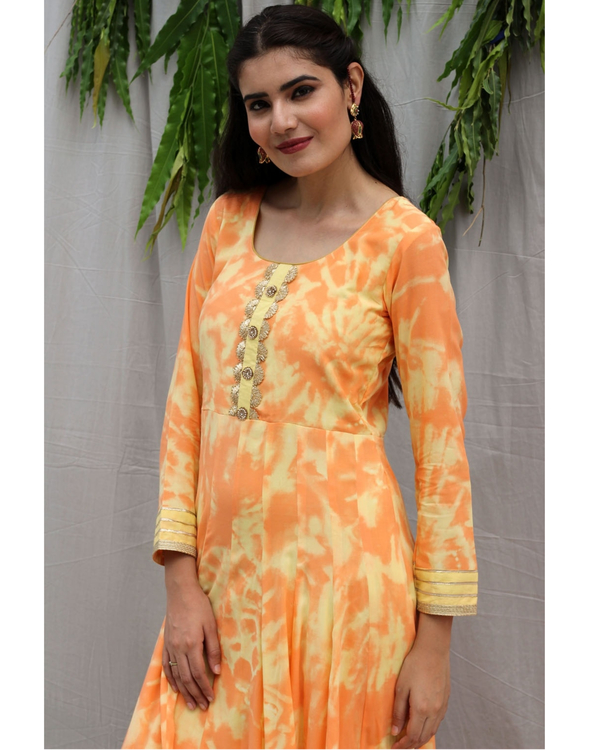Orange flared maxi dress 1