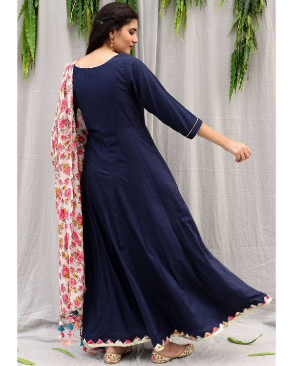 Navy blue flared dress with dupatta - set of two 4