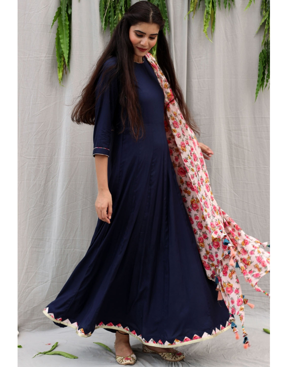 Navy blue flared dress with dupatta - set of two 3
