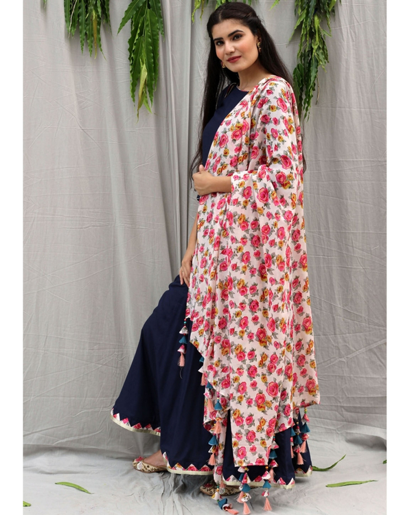 Navy blue flared dress with dupatta - set of two 2