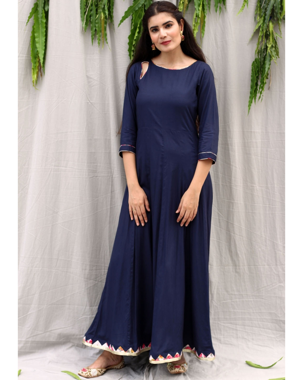Navy blue flared dress with dupatta - set of two 1