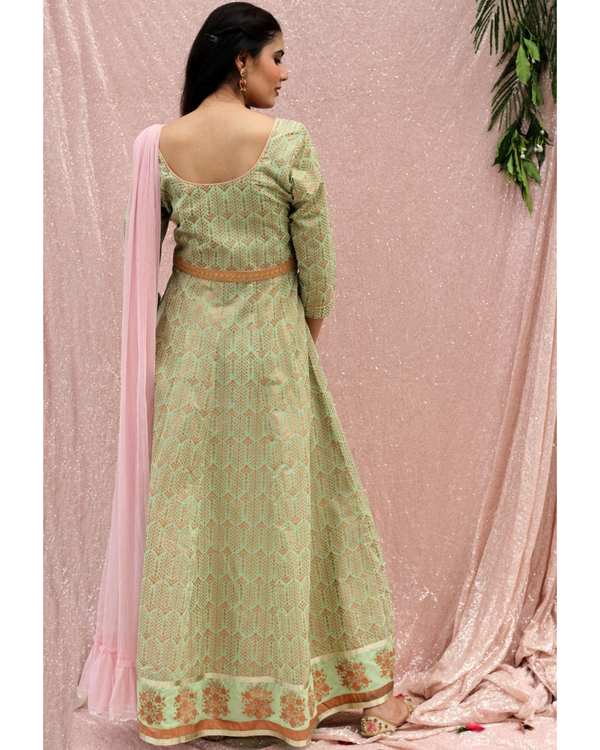 Sea green flared dress with dupatta - set of two 3