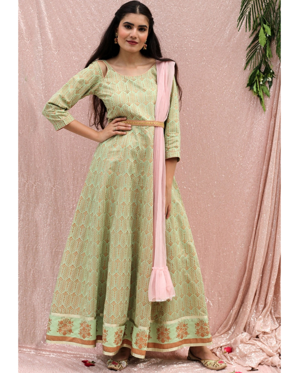 Sea green flared dress with dupatta - set of two 2