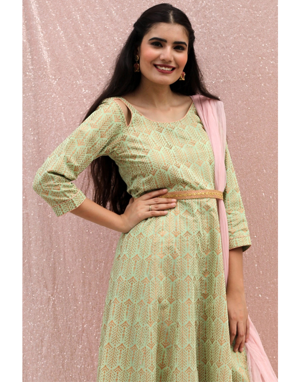Sea green flared dress with dupatta - set of two 1