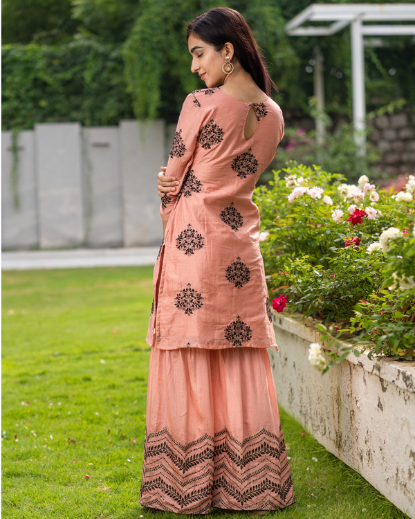 Coral embroidered kurta with sharara pants - Set of two 5